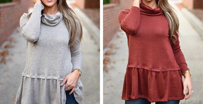 Cowl Neck Ruffle Sweater