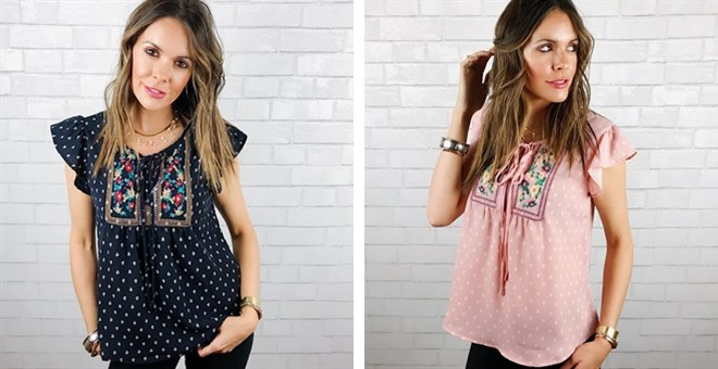 Was $44.99 - Now $21.99 - Embroidered Boho Blouse | 2 Colors (3/2 to 3/4)
