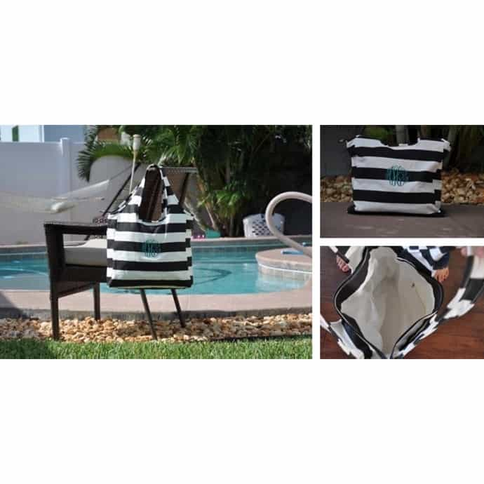 Personalized Nautical Striped Beach Bag / Carry All Tote ...