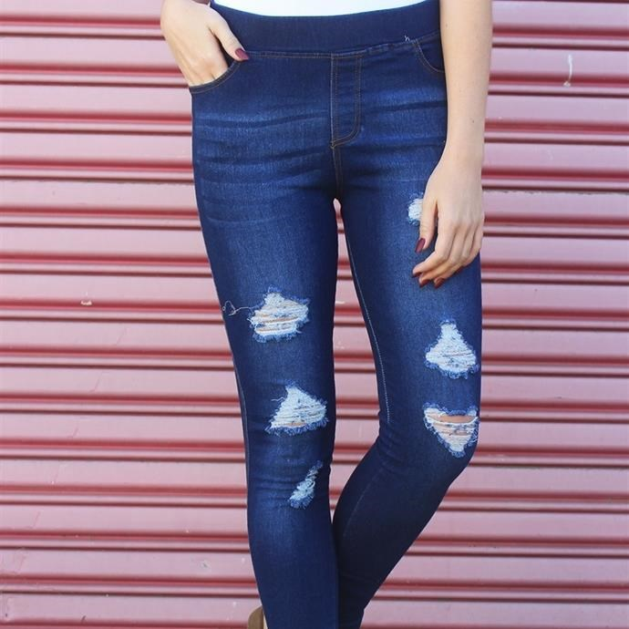 Distressed Jeggings / S-3X / Free Shipping