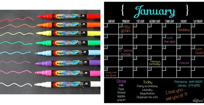 ORGANIZE YOUR NEW YEAR Black Fluorescent Dry Erase Calendar - Black dry erase calendar