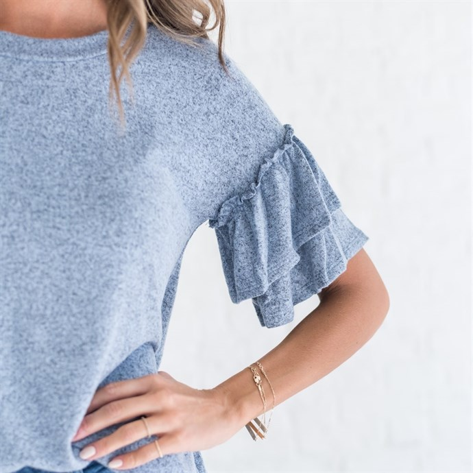 Jane: Ruffle Sleeve Tops / 3 Colors Only $9.99