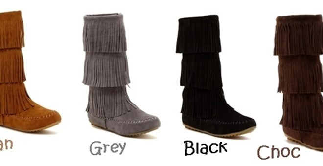 Women's Fringe Boots! 3-Layers - Assorted Colors! | Jane
