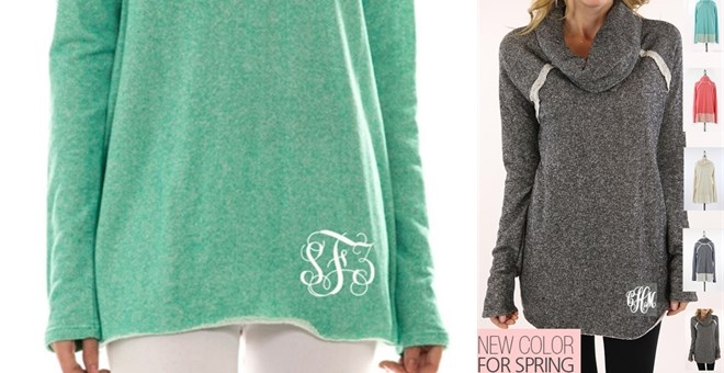 NEW Monogrammed French Terry Cowl Necks - 3 colors | Jane