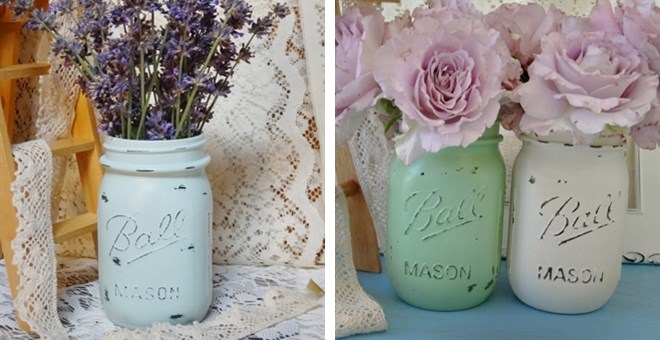 Shabby Chic Mason Jar Vases (Set of 2)  Jane