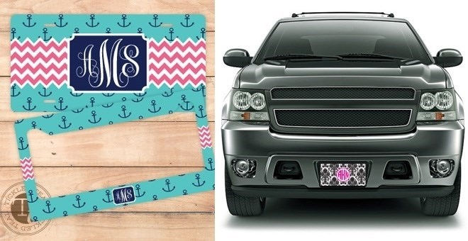 custom monogram license plates or license plate frames jane