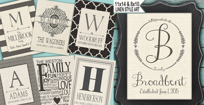 11x14 Family Name Prints Linen Styles 2 Sizes Jane