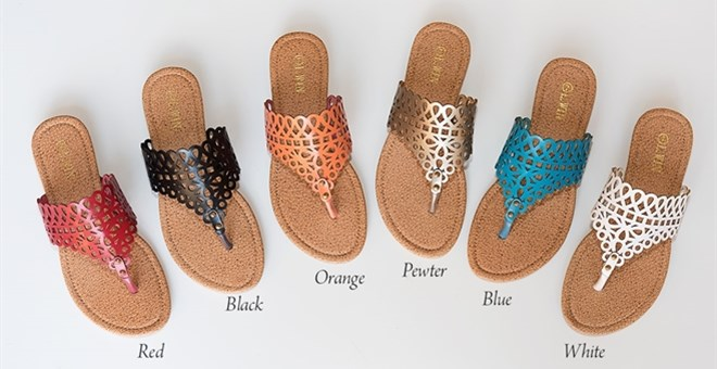 Lattice Casual Thong Sandals