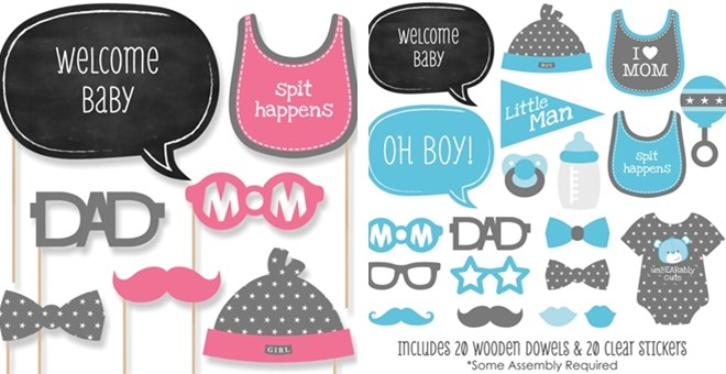 Baby Shower U0026 Gender Reveal Photo Booth Prop Kits   20 Pieces | Jane