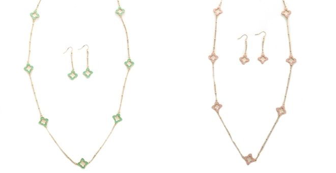 Clover Enamel Necklace And Earrings 2 Color Options Jane