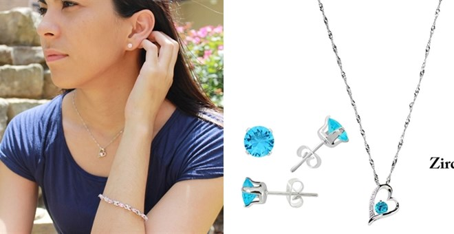 Crystal Heart Necklace and Earring Set! FREE GIFT BOX! | Jane