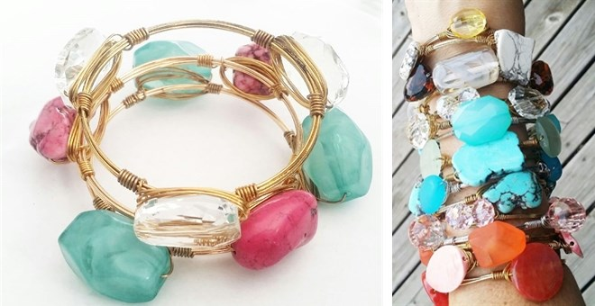Wire-Wrapped Fashion Stone Bangles | Jane Daily Wire