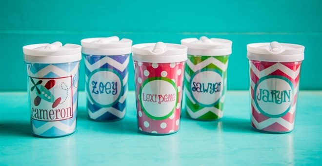 Kids Personalized 8 Oz Cups With Built In Straw Jane