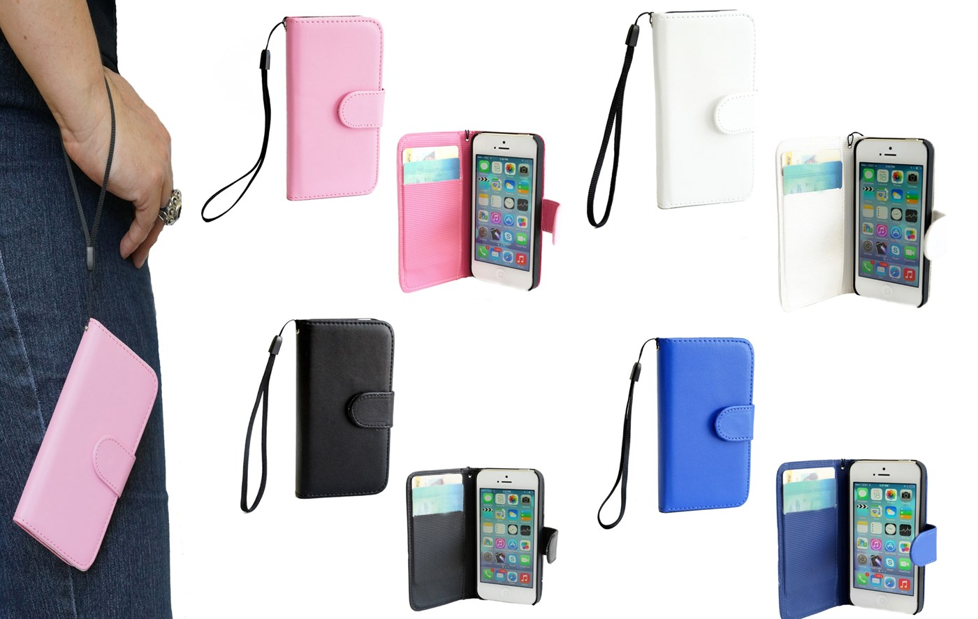 the iphone 8 iphone 4 4s 5 5s flip magnetic wrist wallet 4 13096