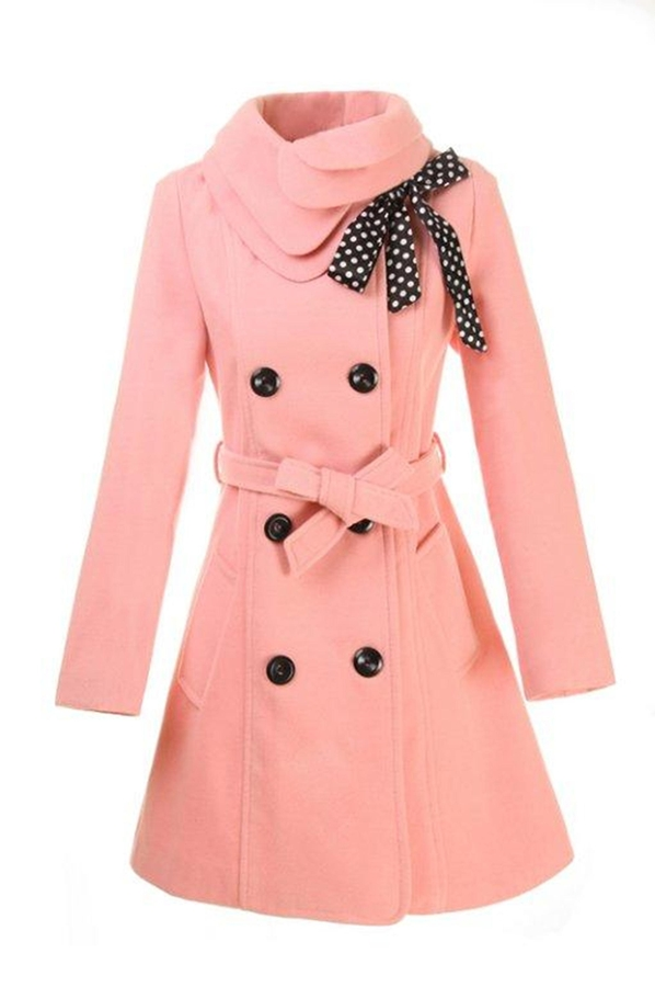 Images of Light Pink Pea Coat - Reikian