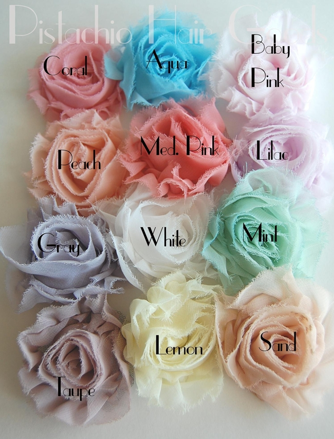 Shabby Cotton Rosette Clips Your Choice Of Color Jane