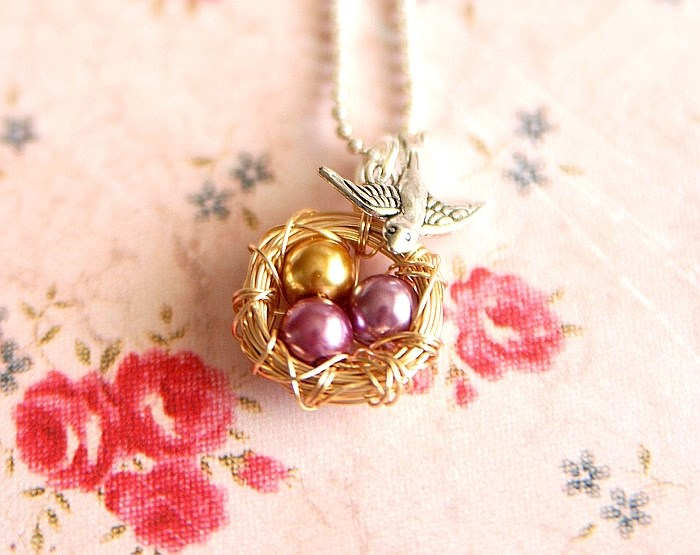 Today Only! Mama Bird Wire Nest Necklace w/ Up to 8