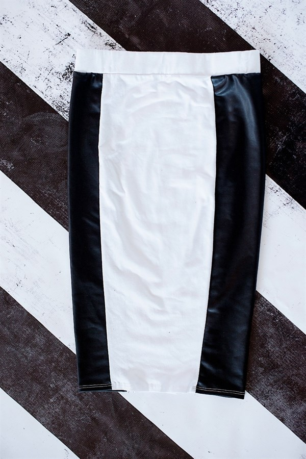 tight fitting leather paneled pencil skirt