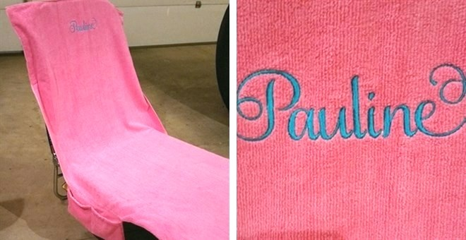 Monogrammed Lounge Chair Towel Covers : Includes Pockets! : Jane