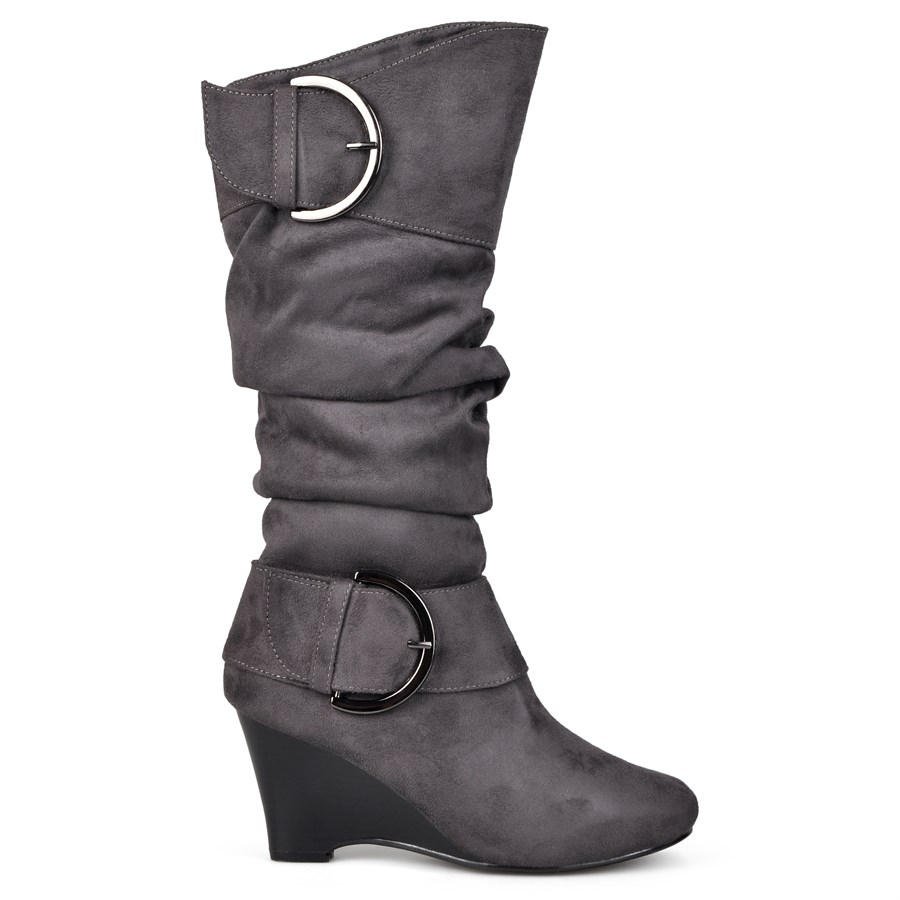 wedge knee high boots wide calf option