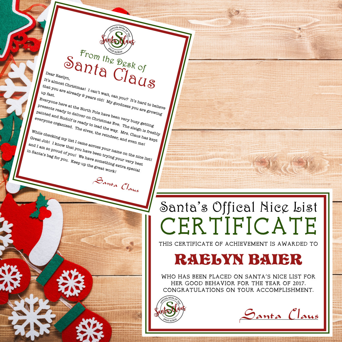 Personalized letter from santa nice list certificate digital 51you save xflitez Gallery