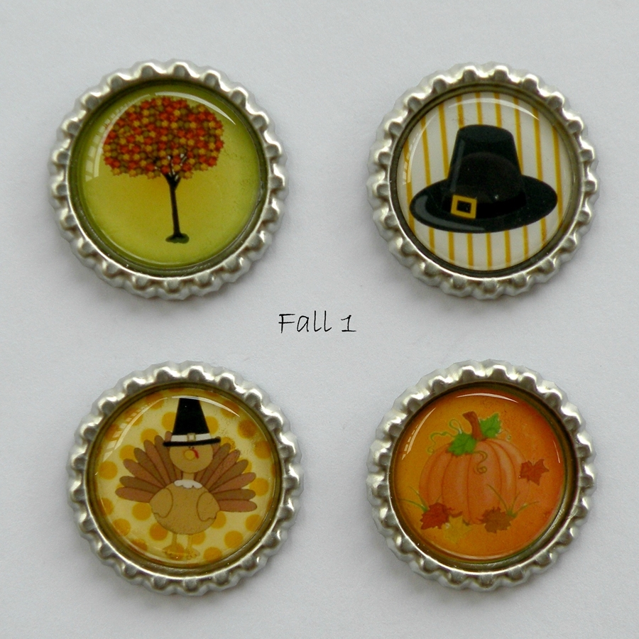 Halloween And Fall Bottle Cap Magnets