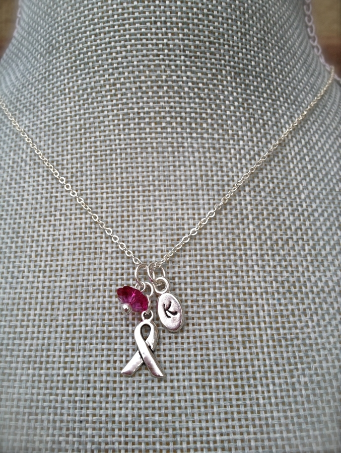 Breast Cancer Awareness Initial Necklace  Jane-8351