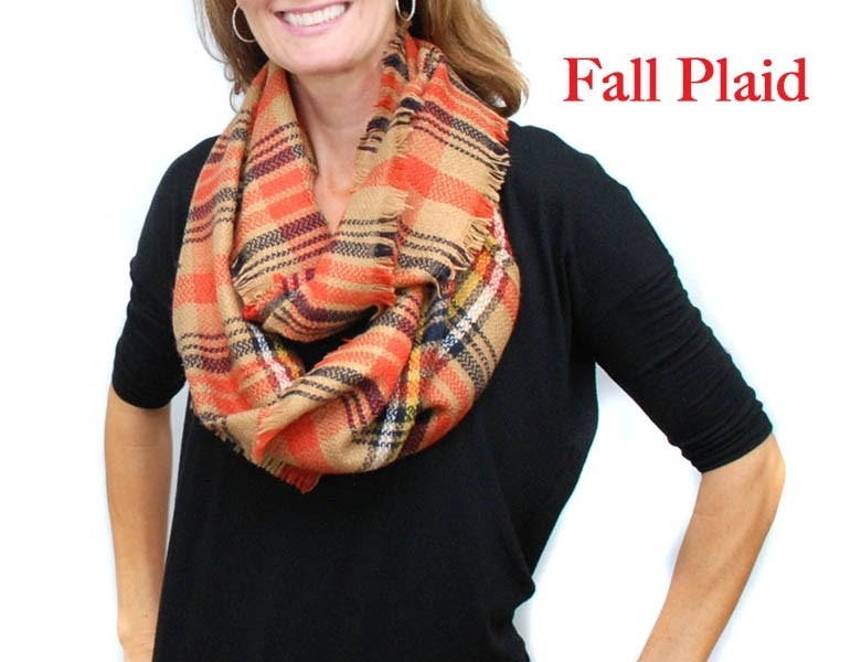 Plaid Infinity Blanket Scarf / 22 Colors