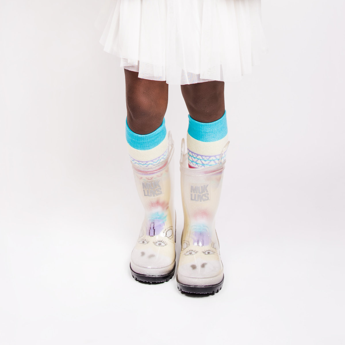 MUK LUKS Girls Clear Molly Rain Boots With 5 Pk Socks On Sale For 1799 Regular 48 These Are Available In Sizes S 7 8 M 9 10 L 11 12 And