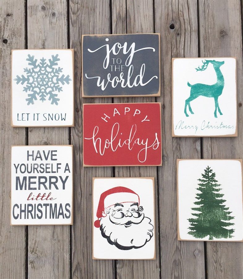 Christmas home decor signs distressed jane for Christmas decorations home bargains