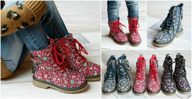 Toddler Girls & Kid Girls Floral Combat Boots! | Jane