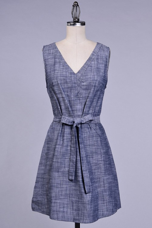 Chambray shirt dress with belt jane for Belted chambray shirt dress