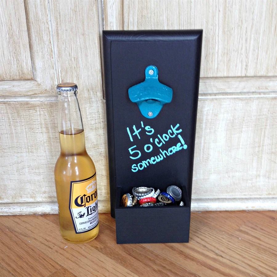 chalkboard bottle opener with cap catch 15 color options jane. Black Bedroom Furniture Sets. Home Design Ideas