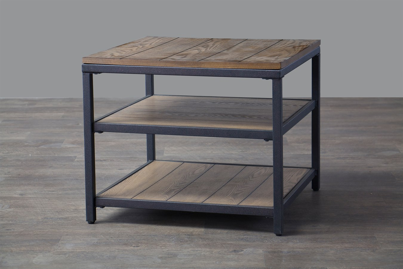 Free Shipping Industrial Style Wood Metal End Table