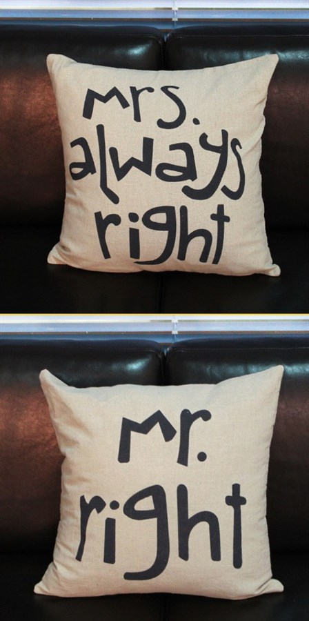 Mrs Always Right Collection Review: Mr. Right And Mrs. Always Right Pillow Covers