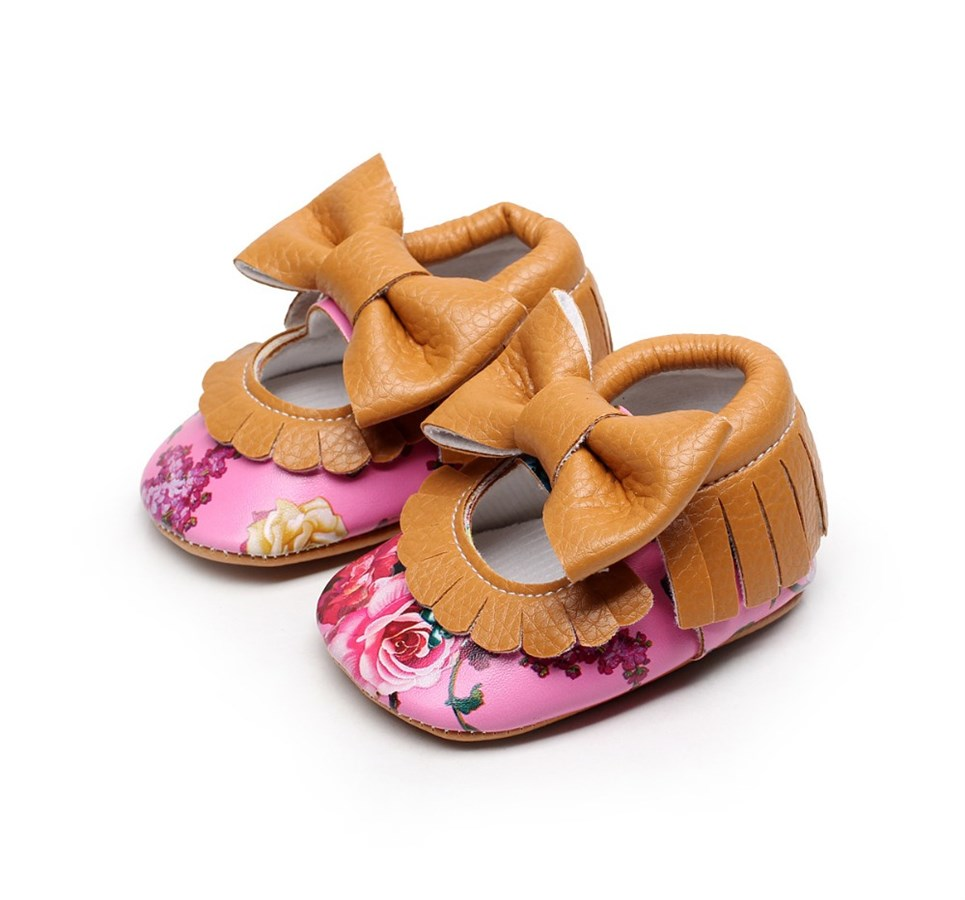 Popular Floral Mary Jane Leather Baby Moccasins Jane